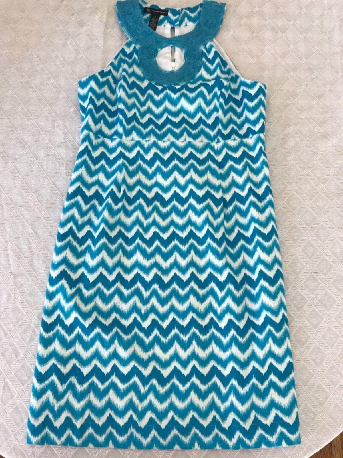 NWOT Women's INC bluee white sleeveless beaded dress sz 10