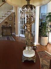 Antique Bronze Figural Lamp Grecian Woman Marble Base Crystal Prisms