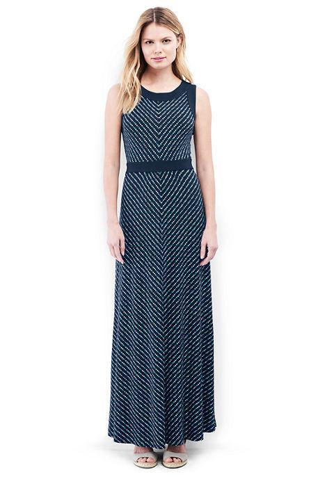 Lands End Women's Sleeveless Knit Maxi Dress Radiant Navy Dot Stripe New