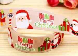 "1M 22mm 7//8/"" Oro Santa Papá Noel Navidad Pastel 99p cinta del grosgrain"