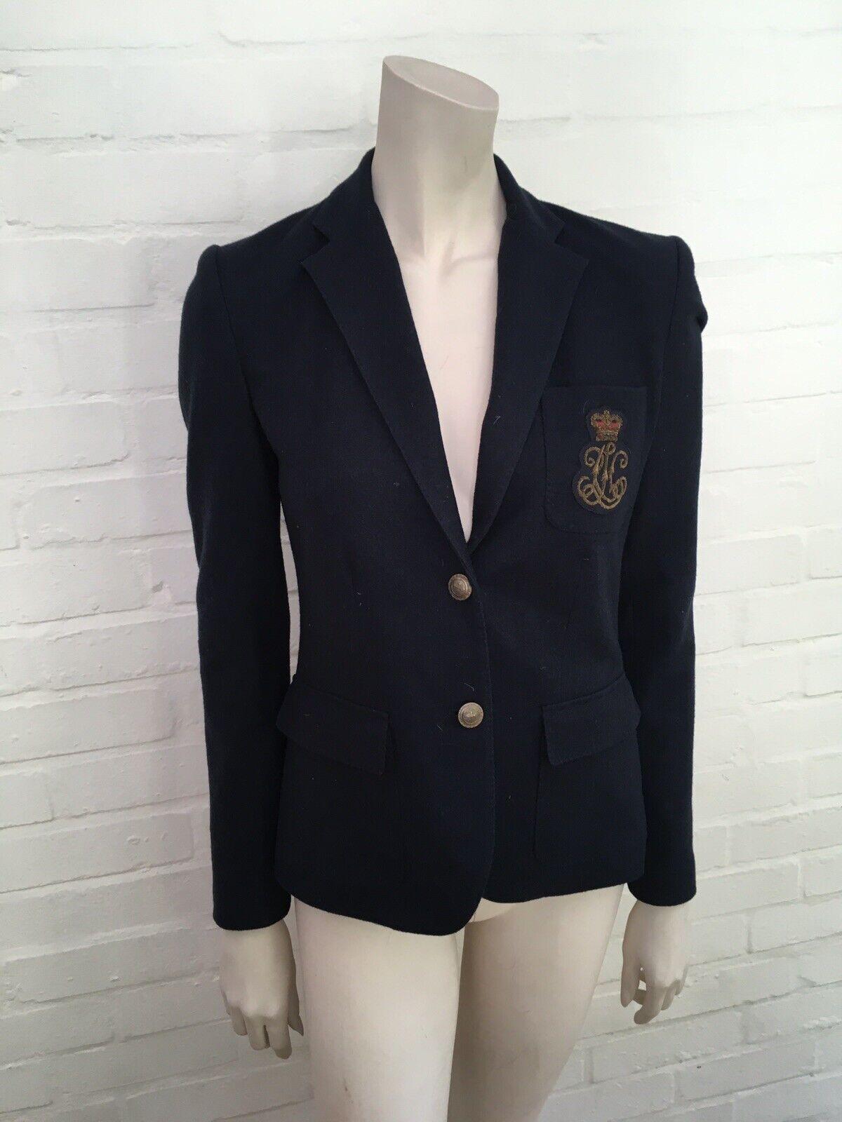 Ralph Lauren Navy Wool Beaded Logo Blazer Jacket UK 8 US 4