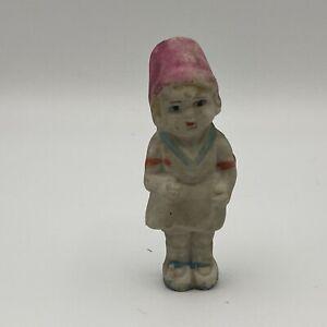 Vintage-FROZEN-CHARLOTTE-Bisque-Flower-Bonnet-GIRL-Doll-Japan