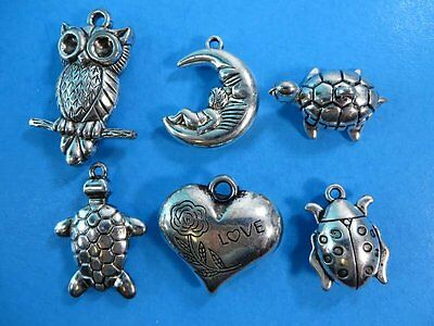 6pcs owl, heart, baby on moon, turtles, ladybug pendant charm for jewelry scarf