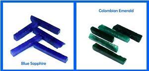 Colombian Emerald & Blue Sapphire 600 Ct+ Gems Slice Rough Natural 10 Pcs Lot