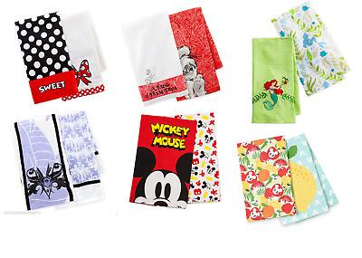 Disney Kitchen Towel Set 2 Pack Tinker Bell Minnie Maleficent Belle Theme Parks