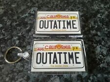 Back to the Future Keyring and Magnet Set. Outatime License Plate. Delorean