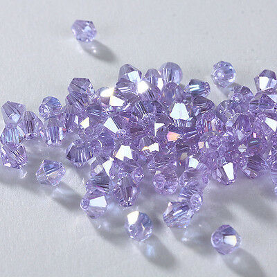Details about HOT! New 100pcs 4mm Glass Crystal #5301 Bicone beads U Pick colors