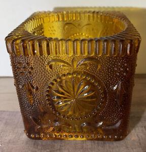Vintage-Indiana-Glass-Tiara-Amber-Square-Candle-Holder-Rare-Design-3-5-X-3-5