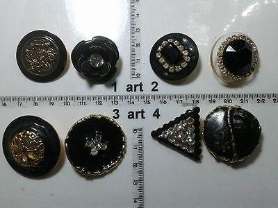 Generoso 1 Lotto Bottoni Gioiello Strass Smalti Perle Neri Buttons Boutons Vintage G11 Dolcezza Gradevole