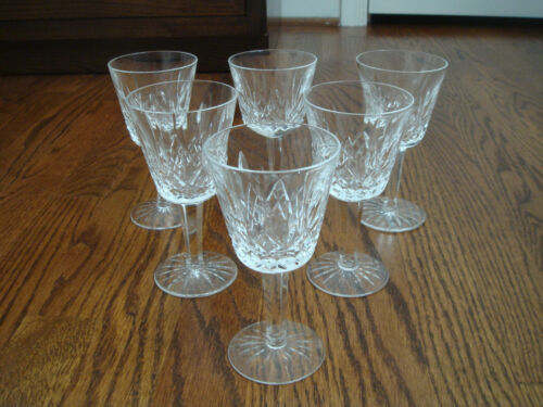 WATERFORD crystal LISMORE 5 78'' wine glasses goblets 6