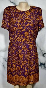 TALBOTS-PURE-SILK-Purple-Gold-Floral-Paisley-Dress-16-Short-Sleeves-Lined