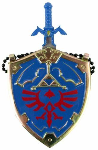 "The Legend of Zelda Hylian Shield /& Link Master Sword Necklace Blue 25/"" NIB"