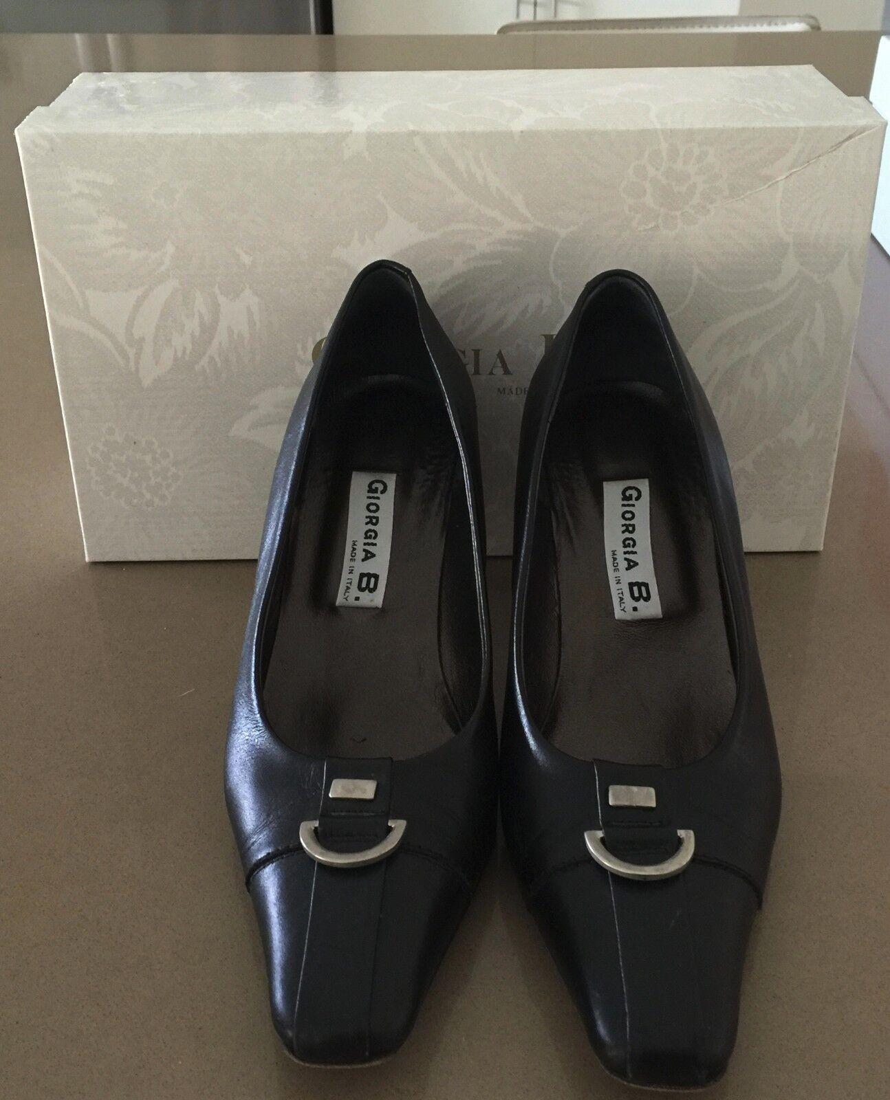 GIORGIA B  Black Italian Leather Square Toe Court Shoe Size 36