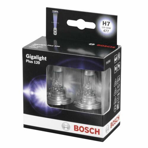 Bosch gigalight Bombillas Plus 120/% actualización de rendimiento H7 12V 55W Px26D X2