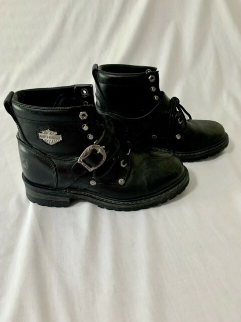 Harley Davidson Women's Boots 9 Black Leather Buckle Ankle Lace Up Motorcycle