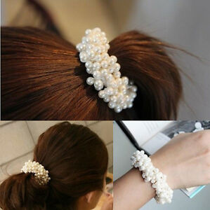 Hot Fashion Korean Style Women Pearls Hair Band Rope Scrunchie Ponytail Holder by Unbranded