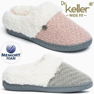 Ladies Wide Fit Slippers Faux Suede