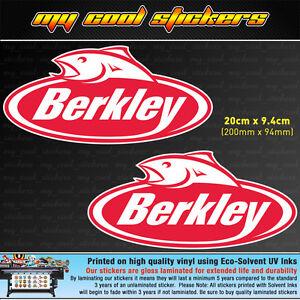 2-x-Berkley-Fishing-20cm-Vinyl-Sticker-Decal-for-Boat-4X4-Car-Tackle-box-Esky