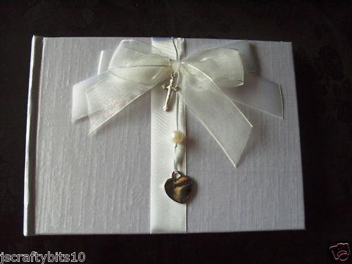 Babies Christening Guest Book silver heart pearl cross Unisex