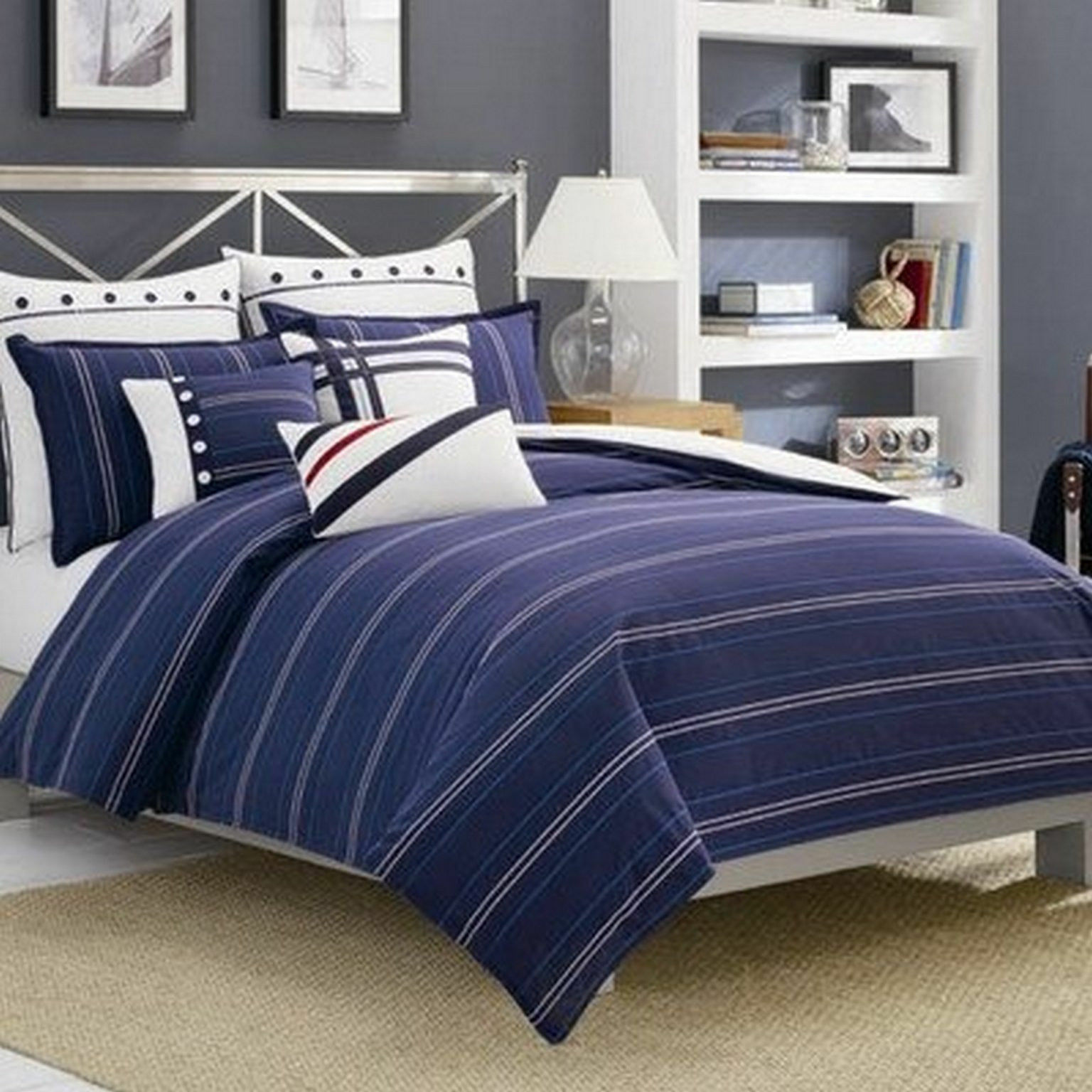 Nautica Winston Navy Blau Duvet Cover, King sailing boat nautical Bedroom Cotton