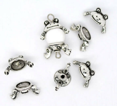 50 Sets Silver Tone Charm Bead Caps Set 15x9mm