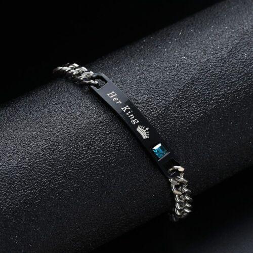 "2x Partner Armband /""HER KING HIS QUEEN/"" Edel Gravur Liebe Armkette Pärchen NEU"