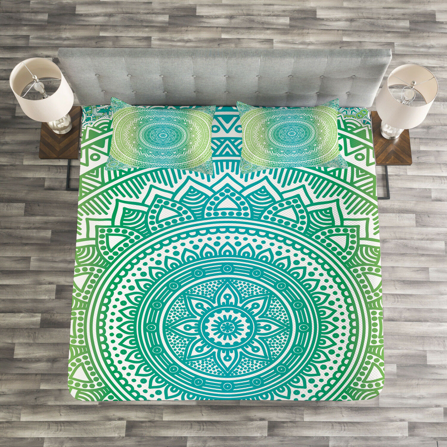 Mandala Quilted Bedspread & Pillow Shams Set, Ombre Pattern Print