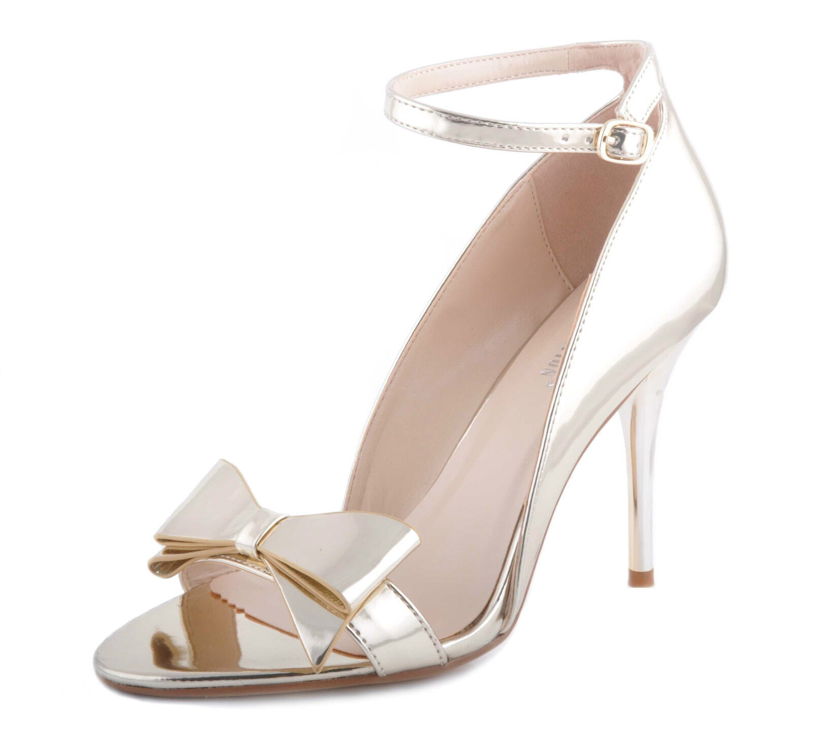Gold Shiny Metallic Ankle Strap Sandals Bow Wedding High Heels Bridal Party