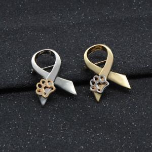 Gold-Silver-Paw-Print-Animal-Cruelty-Awareness-Ribbon-Brooch-Pin-Cat-Dog-Pins-CN