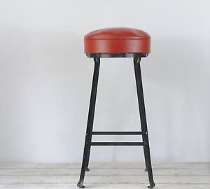 Marvelous Details About Vintage Industrial Stool Steel Stool Lab Stool Metal With Vinyl Seat Shop Stool Beatyapartments Chair Design Images Beatyapartmentscom