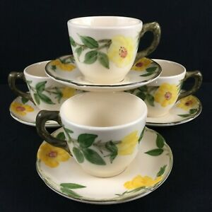 Set-of-4-VTG-Cups-and-Saucers-by-Franciscan-Meadow-Rose-Yellow-Floral-USA