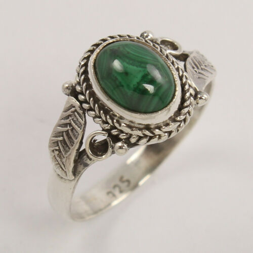 Malachite oval stone ring 925 Sterling Silver oxidized jewelry all sizes ring
