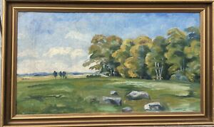 Oil-PAINTINGS-impressinist-Trier-morch-landscape-at-the-edge-of-the-Forest-signed-41-x-68-cm