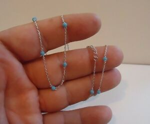 925-STERLING-SILVER-NECKLACE-W-TURQUOISE-GEMSTONES-18-039-039-LONG