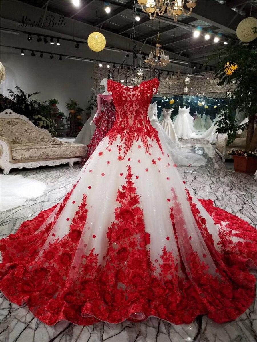 3D Rot Rot Rot Blaumen Tüll Aus der Schulter Hochzeitskleid A-Linie Brautkleid Glänzend | Qualität Produkt  | Kunde zuerst  | Ausgang  d8ece9