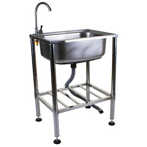Stainless Steel Metal Camping Sink with Tap and Drainage Pipe Outdoor Wash Basin