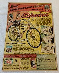 1954 SCHWINN TRAVELER bicycle ad ~ Bike Champions Ride Schwinn