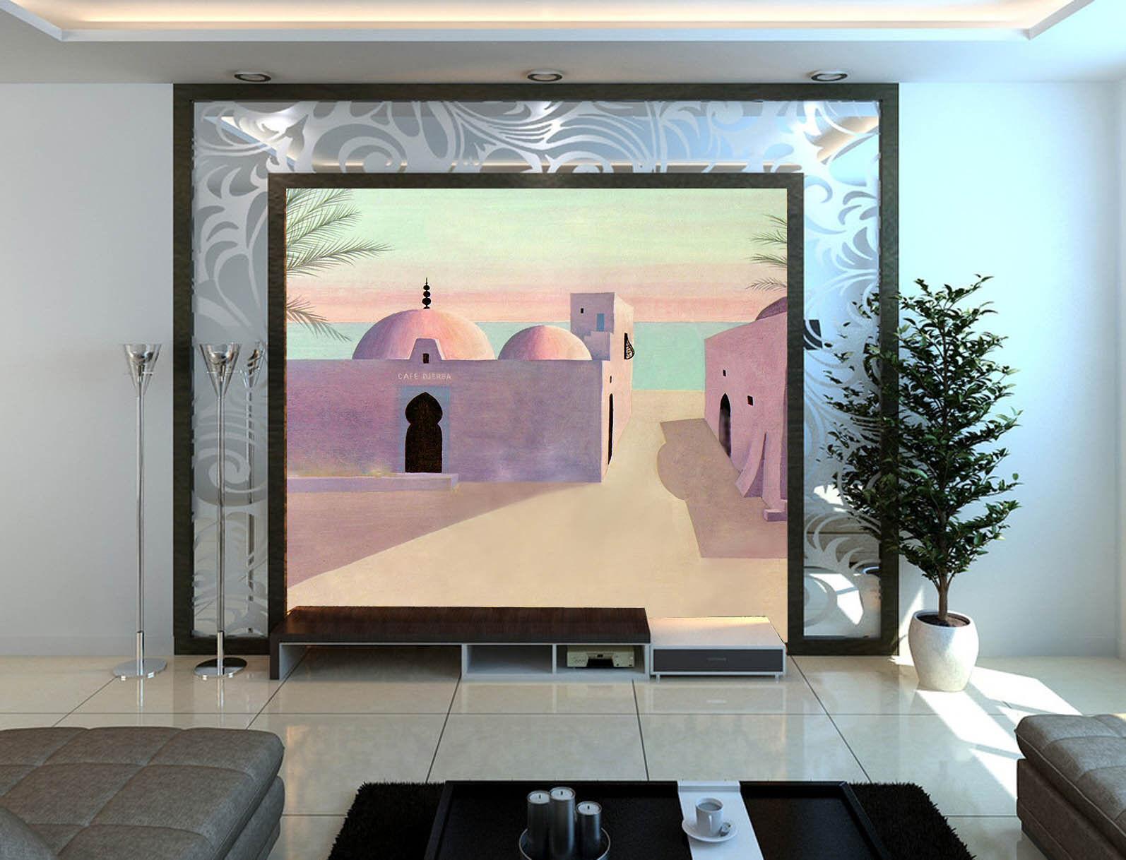 3D Porpora Cabina Parete Murale Foto Carta da parati immagine sfondo muro stampa