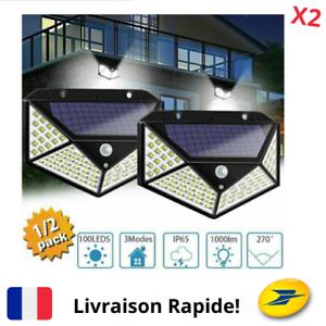 2-Lampe-Solaire-Exterieur-Detecteur-de-Mouvement-Spots-Eclairage-Mural-Jardin-FR