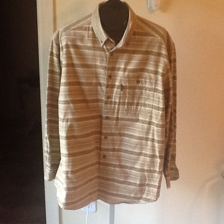 Woolrich Barley Blanket Stripe Cotton Button Front Shirt Size XL