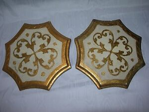 rare PAIR~Vintage Florentine Italy Gold Gilt Wooden Toleware~Wall Pocket~Sconce
