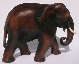 Fair-Trade-Hand-Carved-Thai-Wooden-Elephant-Brand-New-33cm-Size