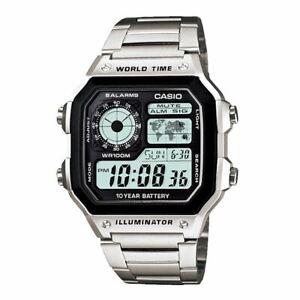 CASIO-AE-1200WHD-1AV-Men-039-s-Digital-100-Meters-Silver-Steel-Bracelet-New-Watch