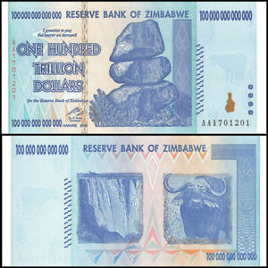 Détails Sur 2008 Zimbabwe 100 Trillion Dollar Bill Aa Unc P 91 Gem Uncirculated Authentic