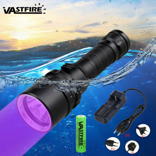 Underwater 100M UV 395nm 5x XPE LED Scuba Diving Flashlight Torch 18650+Charger