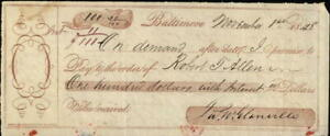 1848 Baltimore Maryland (MD) Promisary note to pay $100 with interest Robert J A