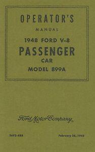 Operator's Manual 1948 Ford Passenger Car (Model 899A)