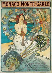 Monaco Monte Carlo Art Nouveau poster by Mucha Glossy Photo print A4 or A5 size