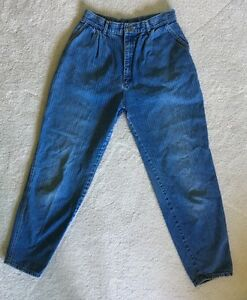 Details about Vintage 80s High Waist Pleated Pinstripe LEE Jeans Faded Taper Fit Sz 29x29 USA