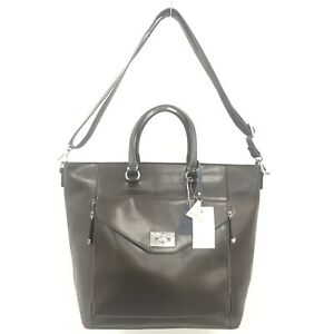 NEW-L-CREDI-Dark-Brown-Leather-Grab-Shoulder-Tote-Handbag-Large-Size-463001